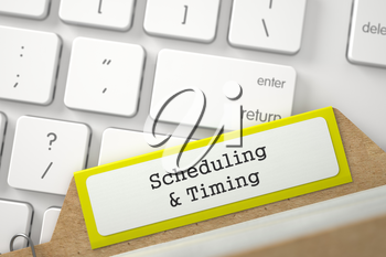 Scheduling & Timing. Yellow Card File Concept on Background of White Modern Computer Keyboard. Archive Concept. Closeup View. Blurred Image. 3D Rendering.