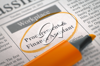 Procurement and Finance Assistant. Newspaper with the Jobs, Circled with a Orange Marker. Blurred Image with Selective focus. Job Seeking Concept. 3D Render.