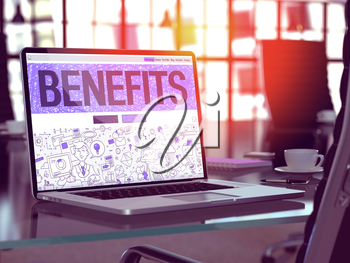 Benefits Concept - Closeup on Landing Page of Laptop Screen in Modern Office Workplace. Toned Image with Selective Focus. 3D Render.