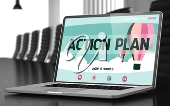Modern Meeting Hall with Laptop on Foreground Showing Landing Page with Text Action Plan. Closeup View. Toned Image. Blurred Background. 3D Illustration.