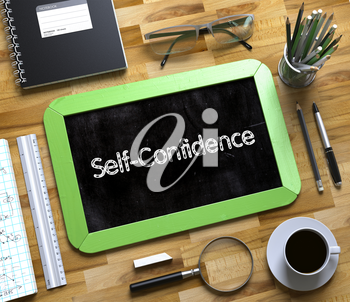 Self-Confidence - Green Small Chalkboard with Hand Drawn Text and Stationery on Office Desk. Top View. Self-Confidence on Small Chalkboard. 3d Rendering.