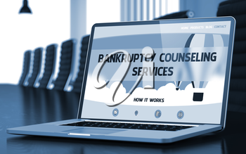 Bankruptcy Counseling Services Concept. Closeup of Landing Page on Mobile Computer Display in Modern Meeting Room. Toned Image. Blurred Background. 3D Rendering.