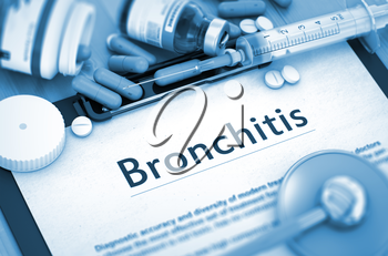Bronchitis - Medical Report with Composition of Medicaments - Pills, Injections and Syringe. 3D Render.