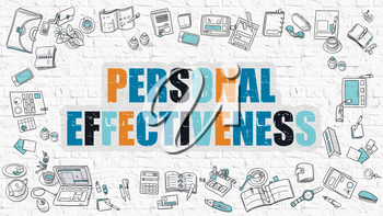 Personal Effectiveness - Multicolor Concept with Doodle Icons Around on White Brick Wall Background. Modern Illustration with Elements of Doodle Design Style.