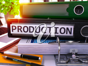 Black Office Folder with Inscription Production on Office Desktop with Office Supplies and Modern Laptop. Production Business Concept on Blurred Background. Production - Toned Image. 3D.