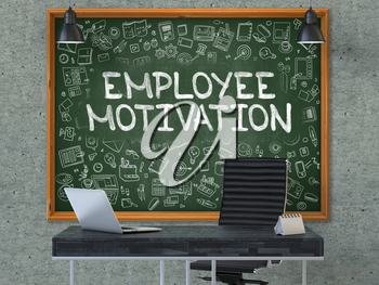 Green Chalkboard with the Text Employee Motivation Hangs on the Gray Concrete Wall in the Interior of a Modern Office. Illustration with Doodle Style Elements. 3D.