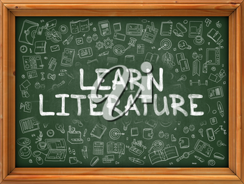 Hand Drawn Learn Literature on Green Chalkboard. Hand Drawn Doodle Icons Around Chalkboard. Modern Illustration with Line Style.