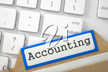 Accounting. Orange Folder Index Overlies White PC Keypad. Archive Concept. Close Up View. Selective Focus. 3D Rendering.