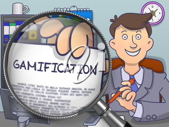Gamification. Man Showing a Paper with Concept through Magnifier. Colored Modern Line Illustration in Doodle Style.