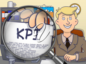 KPI - Key Performance Indicator. Man Welcomes in Office and Showing through Magnifying Glass Concept on Paper. Multicolor Modern Line Illustration in Doodle Style.