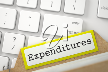 Expenditures written on Yellow Archive Bookmarks of Card Index on Background of Modern Keyboard. Closeup View. Blurred Illustration. 3D Rendering.