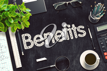 Benefits. Business Concept Handwritten on Black Chalkboard. Top View Composition with Chalkboard and Office Supplies. 3d Rendering. Toned Illustration.