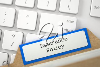 Insurance Policy written on Orange Sort Index Card Concept on Background of Modern Laptop Keyboard. Close Up View. Selective Focus. 3D Rendering.