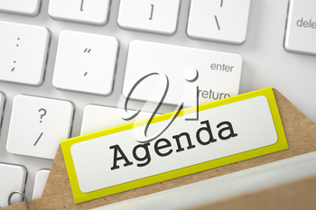 Agenda Concept. Word on Yellow Folder Register of Card Index. Closeup View. Blurred Image. 3D Rendering.