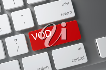 Vod Concept Metallic Keyboard with Vod on Red Enter Keypad Background, Selected Focus. 3D Illustration.