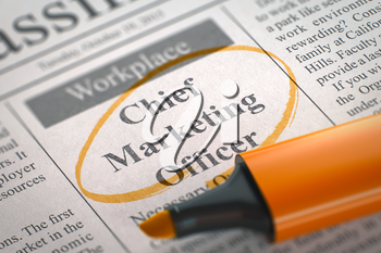 Chief Marketing Officer - Vacancy in Newspaper, Circled with a Orange Highlighter. Blurred Image. Selective focus. Job Search Concept. 3D.