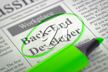 Back-End Developer - Job Vacancy in Newspaper, Circled with a Green Highlighter. Blurred Image. Selective focus. Concept of Recruitment. 3D.