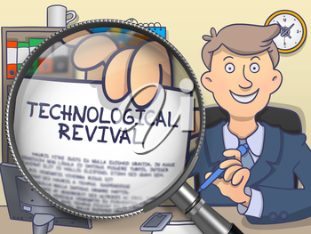 Officeman in Office Workplace Showing Concept on Paper Technological Revival. Closeup View through Lens. Multicolor Modern Line Illustration in Doodle Style.
