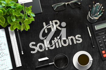 HR Solutions - Text on Black Chalkboard.3d Rendering. Toned Illustration.