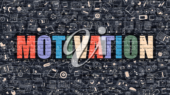 Motivation. Multicolor Inscription on Dark Brick Wall with Doodle Icons Around. Motivation Concept. Modern Style Illustration with Doodle Design Icons. Motivation on Dark Brickwall Background.