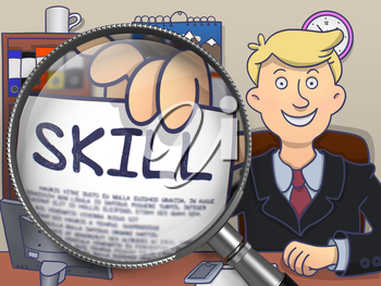 Skill. Happy Man in Office Shows Paper with Text through Lens. Colored Doodle Style Illustration.