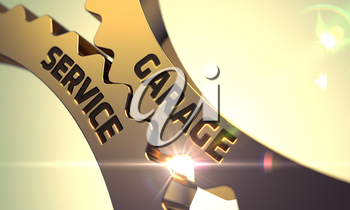 Garage Service on Mechanism of Golden Cogwheels with Lens Flare. 3D.