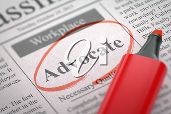 Advocate - Small Ads of Job Search in Newspaper, Circled with a Red Marker. Blurred Image with Selective focus. Hiring Concept. 3D Rendering.