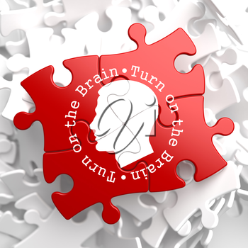 Royalty Free Clipart Image of a Jigsaw Puzzle With a Head