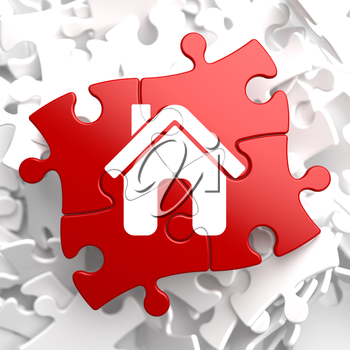Royalty Free Clipart Image of a House Jigsaw Puzzle