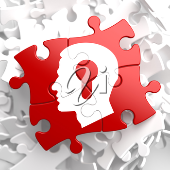Royalty Free Clipart Image of a Puzzle With a Head