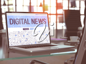 Modern Workplace with Laptop Showing Landing Page in Doodle Design Style with Text Digital News. Toned Image with Selective Focus. 3D Render.