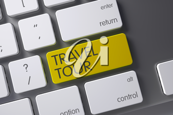 Travel Tour Concept Aluminum Keyboard with Travel Tour on Yellow Enter Button Background, Selected Focus. 3D Illustration.