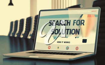 Search For Solution - Landing Page with Inscription on Laptop Screen on Background of Comfortable Conference Hall in Modern Office. Closeup View. Toned Image with Selective Focus. 3D Rendering.