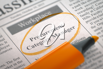 A Newspaper Column in the Classifieds with the Small Advertising of Procurement Category Manager, Circled with a Orange Highlighter. Blurred Image with Selective focus. Hiring Concept. 3D Render.