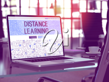 Distance Learning Concept - Closeup on Landing Page of Laptop Screen in Modern Office Workplace. Toned Image with Selective Focus. 3D Render.