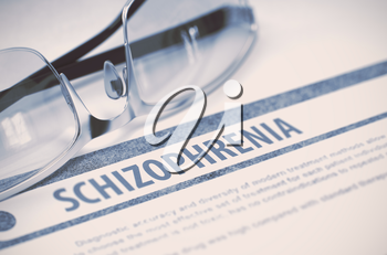 Schizophrenia - Medical Concept with Blurred Text and Eyeglasses on Blue Background. Selective Focus. 3D Rendering.