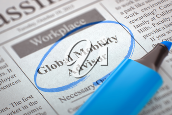 A Newspaper Column in the Classifieds with the Small Ads of Job Search of Global Mobility Advisor, Circled with a Blue Marker. Blurred Image with Selective focus. Job Seeking Concept. 3D.
