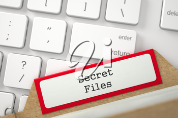 Secret Files. Red Card Index Concept on Background of Modern Laptop Keyboard. Business Concept. Close Up View. Selective Focus. 3D Rendering.