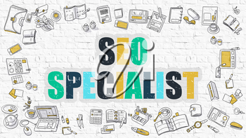 SEO - Search Engine Optimization - Specialist. Multicolor Inscription on White Brick Wall with Doodle Icons Around. Modern Style Illustration with Doodle Design Icons on White Brickwall Background.