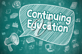 Business Concept. Megaphone with Text Continuing Education. Cartoon Illustration on Blue Chalkboard.
