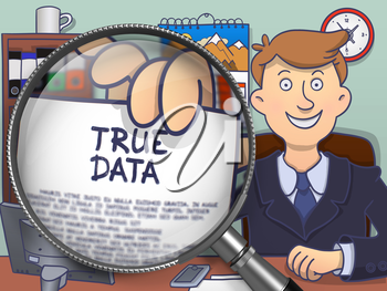 Businessman in Suit Showing Paper with Inscription True Data Concept through Lens. Closeup View. Multicolor Modern Line Illustration in Doodle Style.