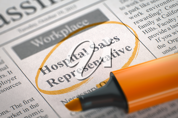 Hospital Sales Representative. Newspaper with the Vacancy, Circled with a Orange Marker. Blurred Image. Selective focus. Job Seeking Concept. 3D Illustration.