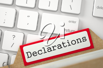 Declarations written on Red Card File Overlies White PC Keypad. Closeup View. Selective Focus. 3D Rendering.