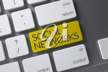 Concept of Social Networks, with Social Networks on Yellow Enter Button on Computer Keyboard. 3D Illustration.