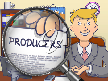 Producers. Concept on Paper in Business Man's Hand through Lens. Multicolor Doodle Illustration.