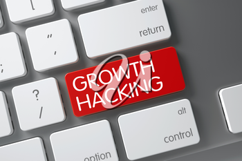 Growth Hacking Concept White Keyboard with Growth Hacking on Red Enter Keypad Background, Selected Focus. 3D Illustration.