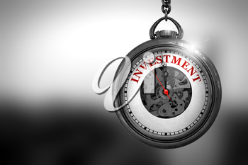 Business Concept: Vintage Pocket Clock with Investment - Red Text on it Face. Pocket Watch with Investment Text on the Face. 3D Rendering.