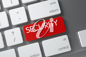 Security Concept White Keyboard with Security on Red Enter Key Background, Selected Focus. 3D Render.