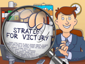 Strategy for Victory. Smiling Businessman in Office Holding a Paper with Inscription through Magnifying Glass. Colored Doodle Style Illustration.