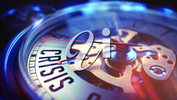 Business Concept: Crisis Wording. on Pocket Watch Face with Close View of Watch Mechanism. Time Concept with Selective Focus and Film Effect. 3D.